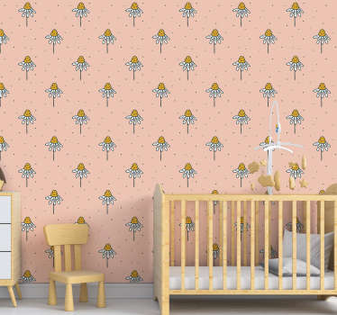 Decorate your kid's room with this beautiful floral wallpaper with a pattern of hand-drawn daisies on a pink background that will love!