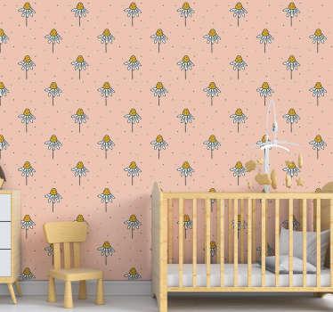Decora la habitación de tus hijos con este hermoso papel pintado de flores con un patrón de margaritas dibujadas a mano sobre un fondo rosa que te encantará