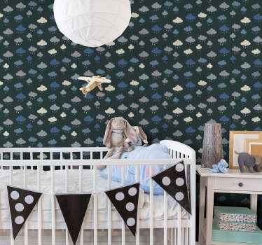 Decorate your baby's room in an original and beautiful way with this wonderful children's wallpaper with a beautiful pattern of rainy clouds.