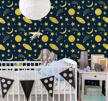 Children's bedroom wallpaper full of yellow moons, stars, and even shooting stars is a perfect way to decorate a room of your little one! High quality