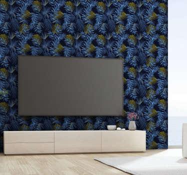 Ciesz się tą tapetą do salonu pełną niebieskich liści bananowca na ciemnym tle przedstawiającą piękno natury. Produkt wysokiej jakości!