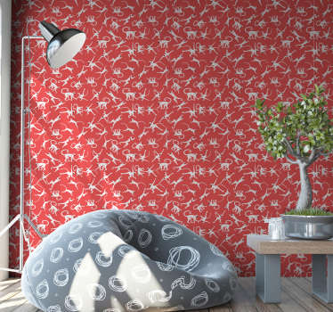 Redecorate your living room or bedroom with this animal wallpaper full of cute monkeys jumping around the red background. High quality!