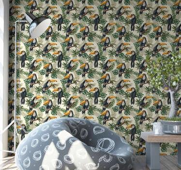 Elige un papel pintado de la sala de estar con un diseño lleno de tucanes rodeados de hojas. Todos aman a esos majestuosos pájaros ¡Alta calidad!