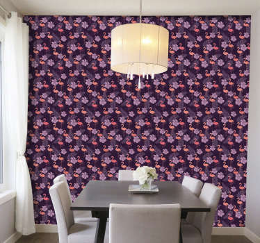 Elegant and stylish modern living room wallpaper with flamingos will transform your house into a beautiful space full of love and happiness.