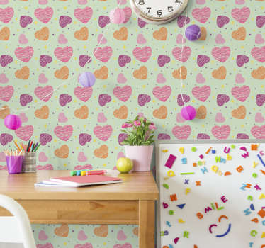 Childrens bedroom wallpaper that will be a great wall decoration for your kids. The shape of hearts in dfiferent colours is so cute!