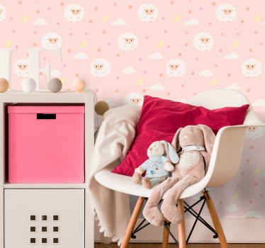 Decorate house with this kids bedroom wallpaper with the design of cute sheeps on the pink sky with little clouds. High quality product!