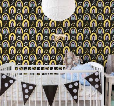 великолепные детские обои с абстрактным рисунком радуги в пастельных тонах на темном фоне. идеально подходит для современных декоров.