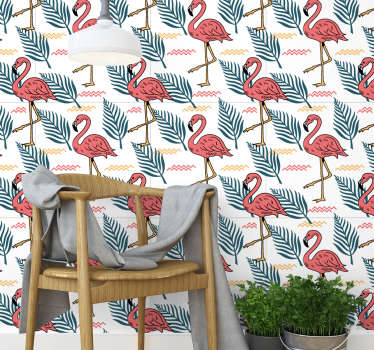 Bring color and life to your home's walls and create fantastic environments with this spectacular animal wallpaper with flamingos and tropical leaves.