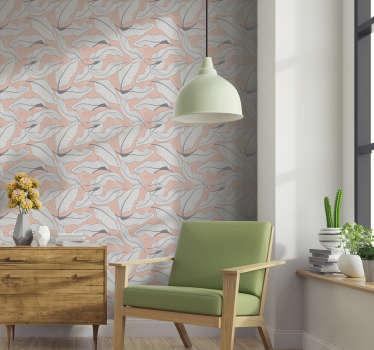 Versier je woonkamer met dit patroonbehang vol tropische bloemen op de perzikkleurige achtergrond. Iedereen zal het geweldig vinden!