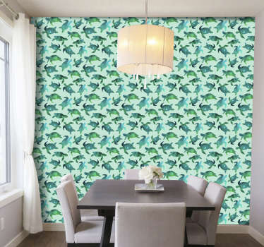 A animal wallpaper with a pattern of turtles formed by geometric figures in shades of green and blue that will make your living room an unique space!