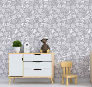 Amazing design of cute stars on this grey and white wallpaper will make everyone jealous of those decorations. High quality material!