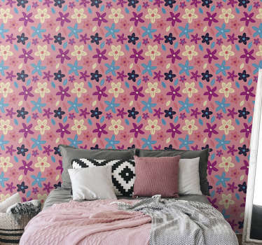 Let your interiors flourish again with this chic nature wallpaper full of colourful flowers. High quality product that will make any room interesting!