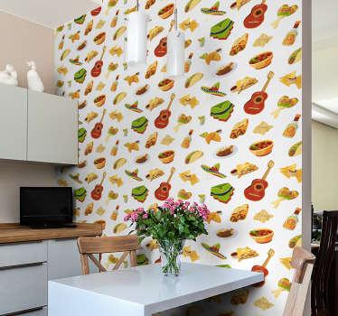 Začutite mehiško vibracijo s to kuhinjsko tapeto, polno elementov, značilnih za njihovo kuhinjo in življenjski slog. Visokokakovosten izdelek!