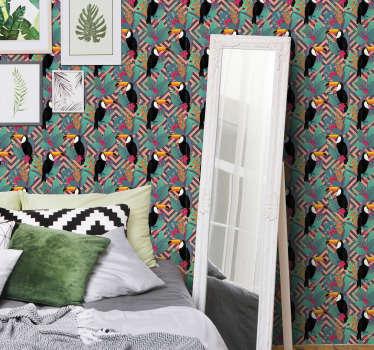 Skab nogle livlige dekorationer med dette tapet med 3d soveværelser fuld af tukaner og farverige blomster. Produkt af en høj kvalitet!