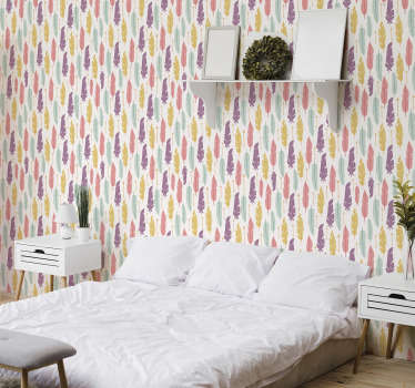 Create a house of your dreams with this full of colour patterned wallpaper with a vivid design of feather and arrows. High quality!
