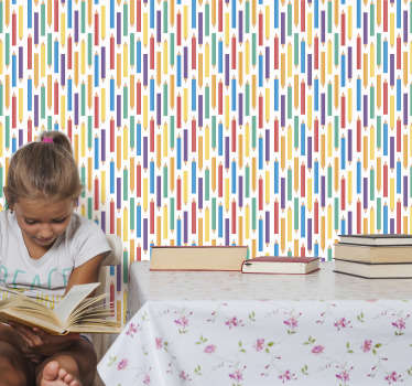 Colourful kids bedroom wallpaper with crayons in different colours such as green, blue, purple, red, all on the white background! You will love it!