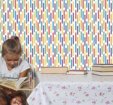 Tapet colorat dormitor pentru copii cu creioane în diferite culori, cum ar fi verde, albastru, violet, roșu, toate pe fundal alb! O să-ți placă!