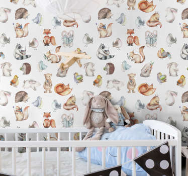 Fantastic children room wallpaper full of cute forest inhabitants such as foxes, birds, squirrels, bears and many more. High quality product!
