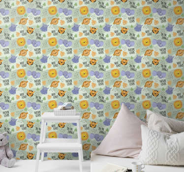 Find all of the animals on this baby room wallpaper with a subtle green background. Register to get a 10% discount on your order!