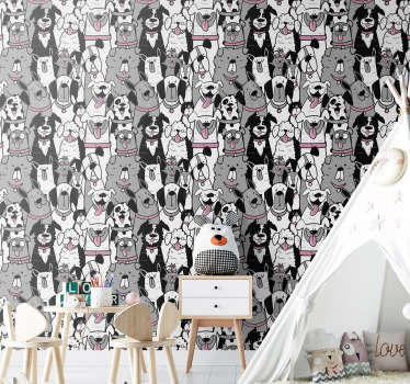 Animal wallpaper full of cute dogs will be perfect for your children's rooms. Register to get a 10% discount on your order!