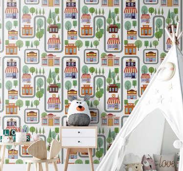 Papel pared bonito para niños con un pueblo lleno de árboles, tiendas, cafeterías, tiendas de chocolate y muchos más. Regístrese para obtener un 10% de descuento
