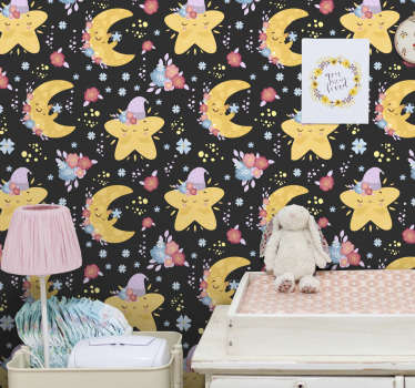 Decorate the baby's room with this kids bedroom wallpaper with stars and moons. Everyone will love this high quality product!