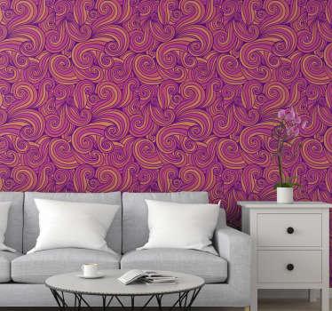Papel de parede para sala de estar de alta qualidade com o padrão de linhas onduladas na cor do pôr do sol que o encherão de aconchego e calor. Alta qualidade!