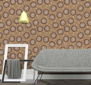 Subtle design of brown wallpaper with a cross section of wooden logs is a proper way to redecorate your living room or bedroom. High quality!