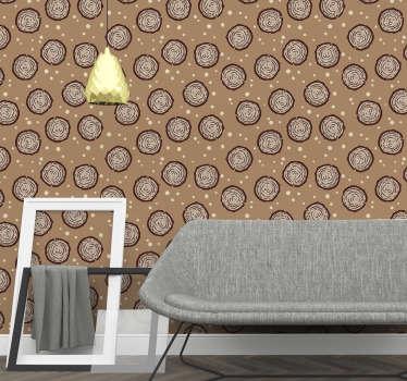 Das subtile Design einer braunen Tapete mit einem Querschnitt aus Holzstämmen ist eine geeignete Methode, um Ihr Wohnzimmer oder Schlafzimmer neu zu dekorieren. Gute Qualität!