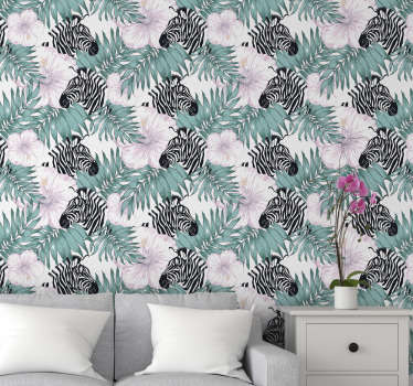 Find a zebra hiding on this forest wallpaper behind beautiful flowers and leaves. High quality material with an application kit available, too.