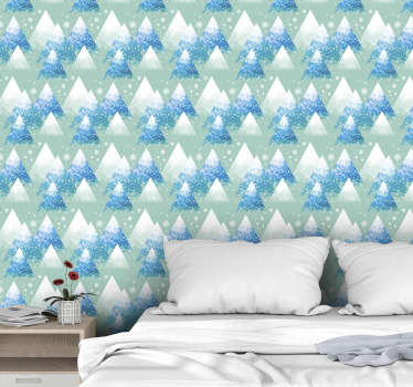Forget about boring walls with the design of abstract mountains presented in a minimalistic way surrounded by beautiful snowflakes.