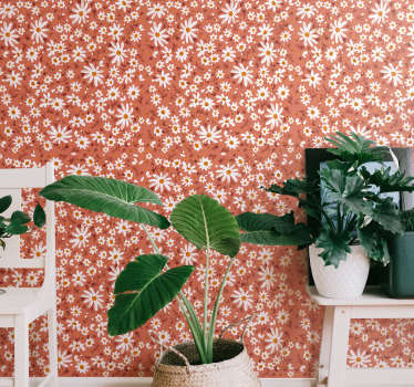 High quality living room wallpaper is a vintage representation of daisies on a coral background. Clear instruction attached to every product we send!