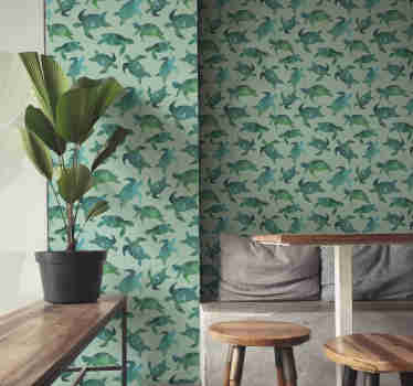 Decorate your home with this fantastic animal wallpaper with a pattern of many geometric turtles in green and blue shades.