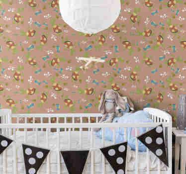 Fantástico papel pintado habitación infantil con un diseño súper colorido de divertidas tortugas pintadas. Alta calidad ¡Envío gratuito!