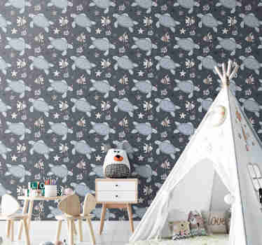 Give life and color to your kids bedroom with this fantastic animal wallpaper with a beautiful pattern of turtles and fish under the sea.