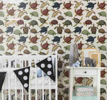 Decorate your kid's bedroom with this fantastic animal wallpaper with a pattern of many turtles in different colors with a vintage touch.