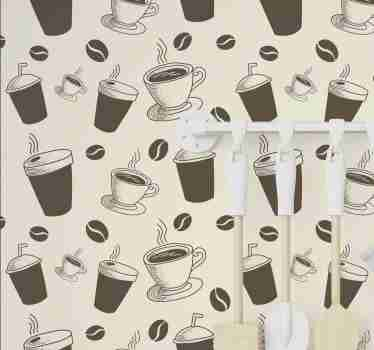 If you're one of those that can survive a day without having a good coffee, then this kitchen wallpaper is a must in your home decor.
