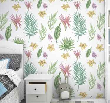Give your home a fresh atmosphere with this amazing nature wallpaper with a pattern of hand drawn flowers and tropical leaves in a white background.