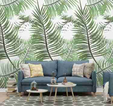 Bring a bit of nature to your living room decor with this jungle wallpaper with a pattern of tropical thin leaves. Discounts available.