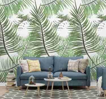 Breng een stukje natuur in je woonkamer decor met dit jungle behang met een patroon van tropische dunne bladeren. Kortingen beschikbaar.