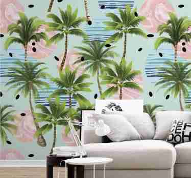 Add a tropical touch to your home decor with this magnificent nature wallpaper with a pattern of palm trees surrounded by pink and blue circles.