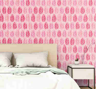 Fantastic pink patterned wallpaper with a pattern of fun hand drawn leaves in different shades of pink. Discounts available.