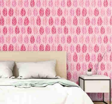Fantastische rosa gemusterte Tapete mit einem Muster von lustigen handgezeichneten Blättern in verschiedenen Rosatönen. Rabatte verfügbar.