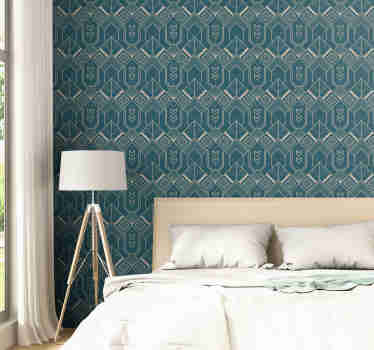 An amazing vintage wallpaper with a pattern of beige polygonal figures in a dark blue background that will fit great in minimalists decors.