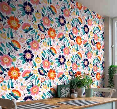 Suchen Sie eine farbenfrohe Ergänzung für Ihre Wohnkultur? Dann schauen Sie sich diese Ziertapete mit einem Muster aus Frühlingsblumen in vielen verschiedenen Farben an.