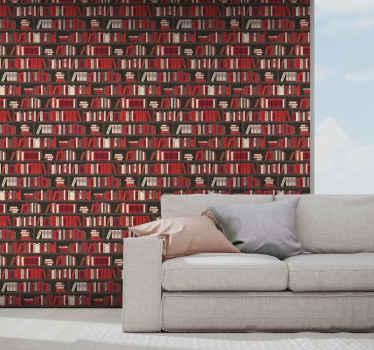 Koop onze rode boekenkast behang voor je woonkamer ruimte en kijk hoe uw ruimte eruit komt te zien. Gemakkelijk te onderhouden en aan te brengen.