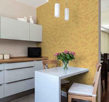 Bringen Sie diesen luxuriösen Küchenbereich mit unserer originalen runden orangefarbenen Tapete aus hochwertigem Material zu Ihnen nach Hause.