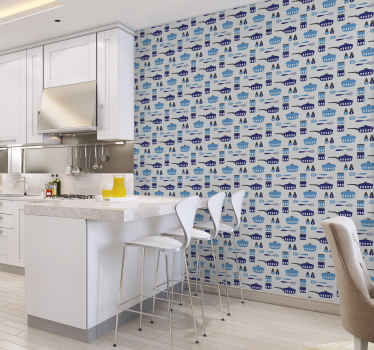 Decorate your kitchen with our original kitchen utensil design wallpaper. It is easy to apply,  clean and it is waterproof.