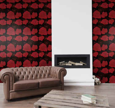 A featured flower wallpaper decoration for your home with red rose designed on red background. It is easy to apply and maintain .