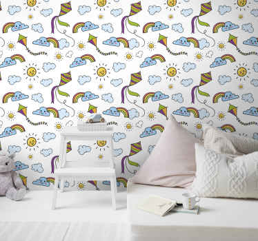 An amazing children wallpaper for children to fill their dreams and fantasies. It is featured with the sun, rainbow and kite in a happy and fun style.